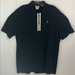 Lacoste Zip up Black short sleeve polo